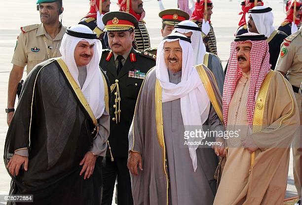 Emir of Kuwait Sheikh Sabah IV Ahmad AlJaber AlSabah is welcomed by the King of Bahrain Hamad bin Isa Al Khalifa upon his arrival at Sakhir Air Base...