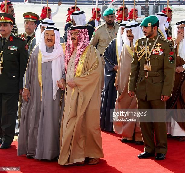 Emir of Kuwait Sheikh Sabah IV Ahmad AlJaber AlSabah is welcomed by the King of Bahrain Hamad bin Isa Al Khalifa upon his arrival at Sakhir Air Base...