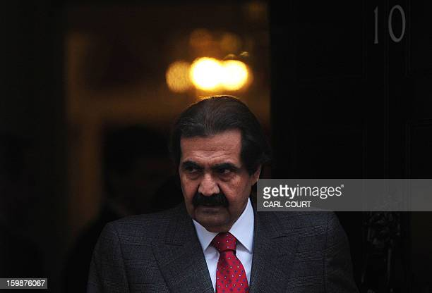 Emir of Qatar Sheikh Hamad bin Khalifa al-Thani leaves 10 Downing Street after a meeting with British Prime Minister David Cameron in central London...