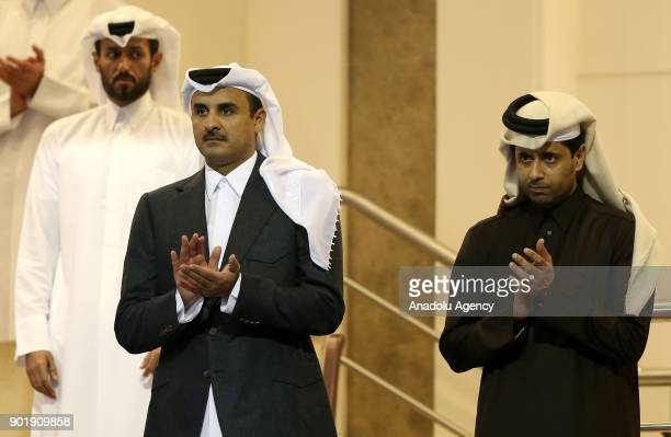 Emir of Qatar Sheikh Tamim bin Hamad Al Thani and Nasser AlKhelaifi President of the Qatar Tennis Federation and Chairman and chief executive officer...