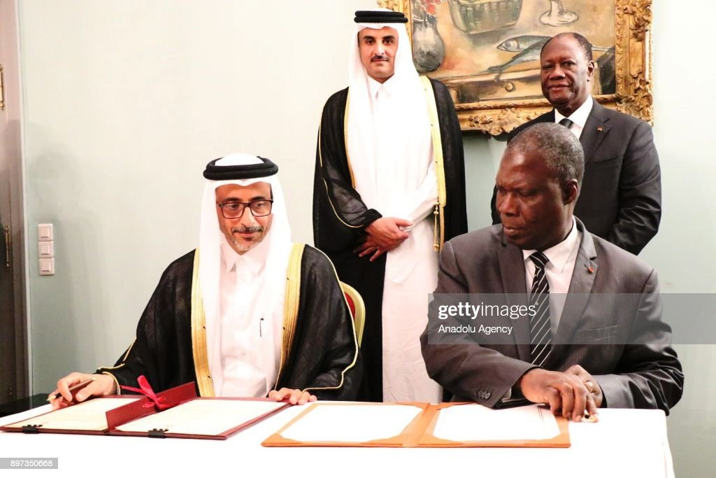 Tamim bin Hamad Al Thani - Alassane Ouattara meeting in Ivory Coast : News Photo