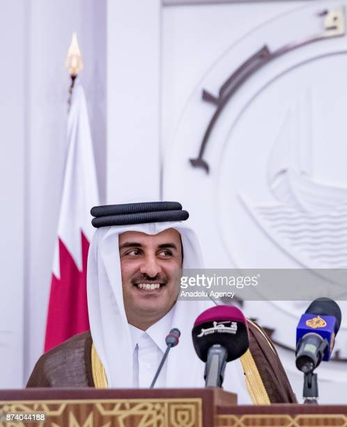 Emir of Qatar Sheikh Tamim bin Hamad Al Thani gestures during opening ceremony of 46th Consultative Assembly of Qatar in Doha Qatar on November 14...