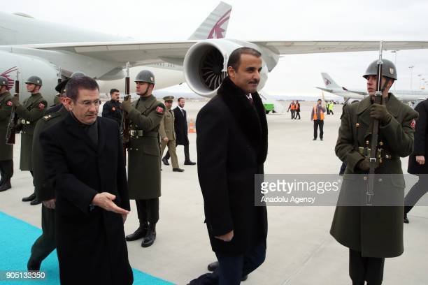 Emir of Qatar Sheikh Tamim bin Hamad Al Thani is welcomed by Turkish Defense Minister Nurettin Canikli upon his arrival to meet with Turkish...