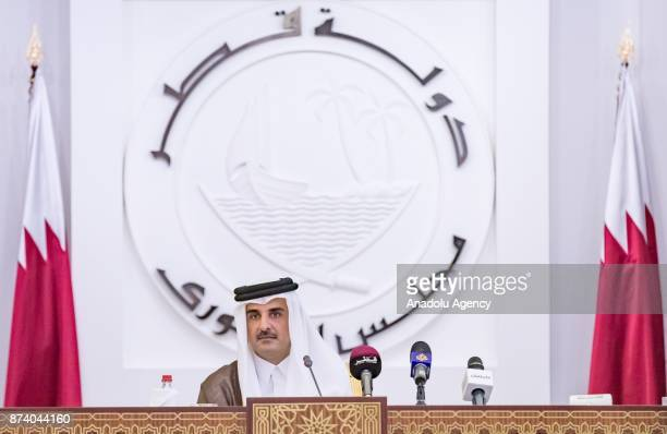 Emir of Qatar Sheikh Tamim bin Hamad Al Thani speaks on QatarGulf crisis during opening ceremony of 46th Consultative Assembly of Qatar in Doha Qatar...