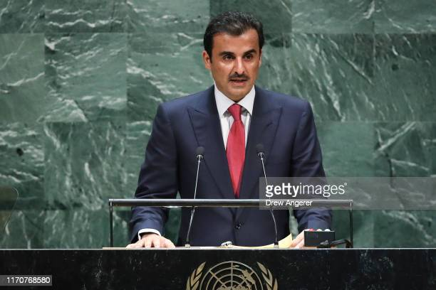 Emir of Qatar Sheikh Tamim bin Hamad al-Thani addresses the United Nations General Assembly at UN headquarters on September 24, 2019 in New York...