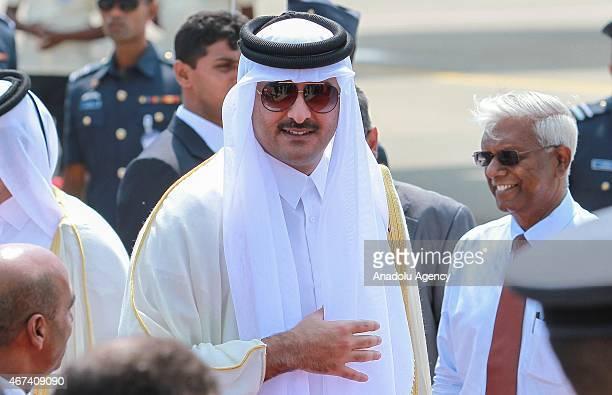 Emir of Qatar Sheikh Tamim bin Hamad AlThani arrives at the Katunayake International Airport in Colombo Sri Lanka on March 24 2015 Qatari Emir pays a...
