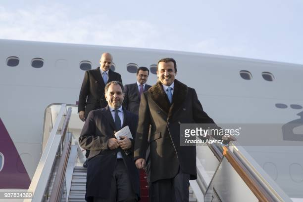 Emir of Qatar Sheikh Tamim Bin Hamad alThani arrives at Vnukovo International Airport in Moscow Russia on March 25 2018