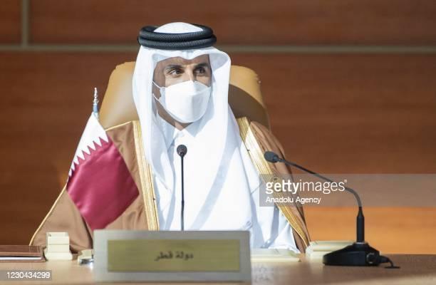 Emir of Qatar Sheikh Tamim bin Hamad al-Thani attends the 41st Summit of Gulf Cooperation Council in AlUla, Saudi Arabia on January 05, 2021.