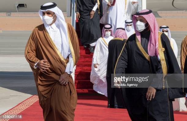 Emir of Qatar Sheikh Tamim bin Hamad al-Thani is welcomed by Crown Prince of Saudi Arabia Mohammed bin Salman ahead of the 41st Summit of Gulf...