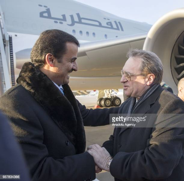 Emir of Qatar Sheikh Tamim Bin Hamad alThani is welcomed by Russian Deputy Foreign Minister Mihail Bogdanov at Vnukovo International Airport in...