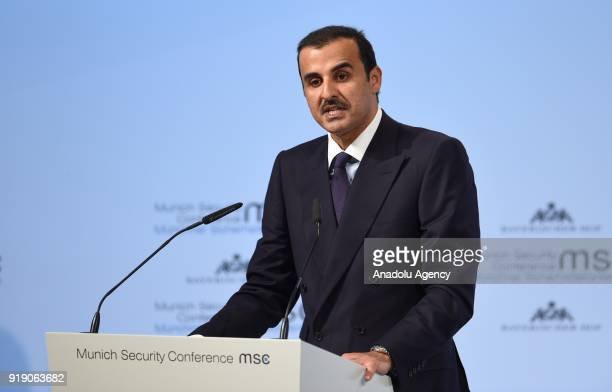 Emir of Qatar Sheikh Tamim Bin Hamad alThani speaks at the 54th Munich Security Conference at Hotel Bayerischer Hof in Munich Germany on February 16...