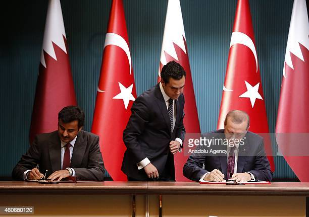Emir of Qatar Sheikh Tamim bin Hamad bin Khalifa Al Thani and Turkish President Recep Tayyip Erdogan sign political declaration about HighLevel...