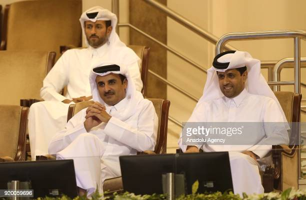 Emir of Qatar Tamim bin Hamad Al Thani and Nasser AlKhelaifi President of the Qatar Tennis Federation and Chairman and chief executive officer of...