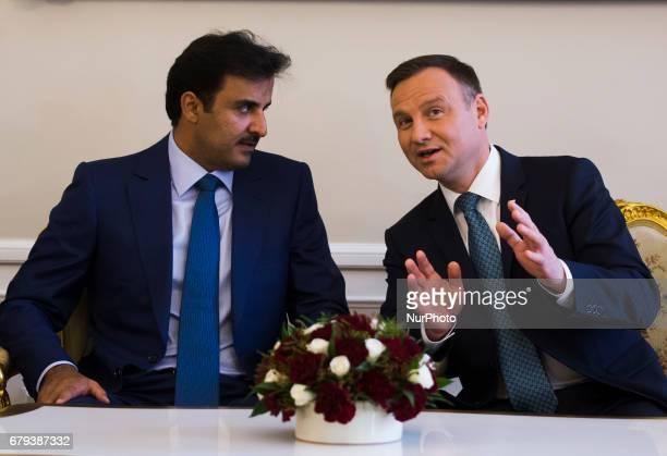 Emir of Qatar Tamim bin Hamad Al Thani and President of Poland Andrzej Duda at Presidential Palace in Warsaw Poland on 5 May 2017