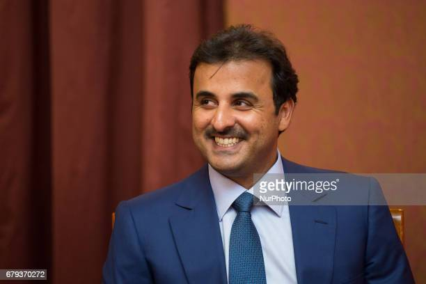 Emir of Qatar Tamim bin Hamad Al Thani at Chancellery of the Prime Minister in Warsaw Poland on 5 May 2017