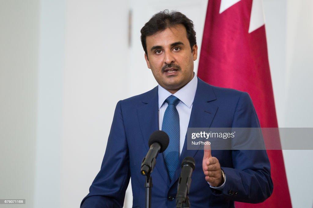 Emir of Qatar visit Poland : News Photo