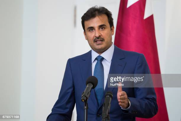 Emir of Qatar Tamim bin Hamad Al Thani during the press conference at Presidential Palace in Warsaw Poland on 5 May 2017