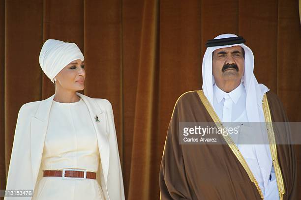 Emir of the State of Qatar Sheikh Hamad Bin Khalifa AlThani and his wife Sheikha Moza Bint Nasser AlMissned arrive at El Pardo Palace on April 25...