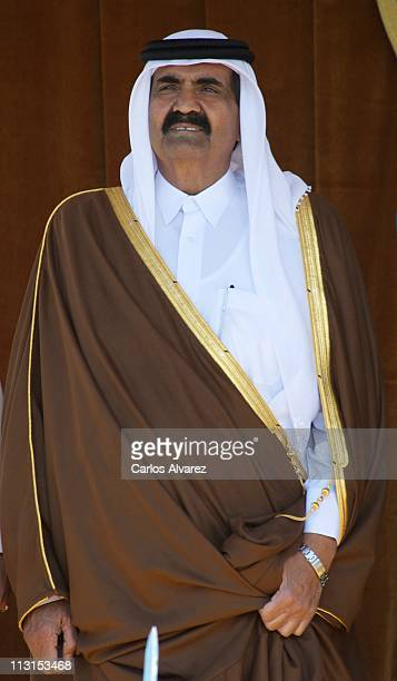 Emir of the State of Qatar Sheikh Hamad Bin Khalifa Al-Thani arrives at El Pardo Palace on April 25, 2011 in Madrid, Spain. The Emir of the State of...