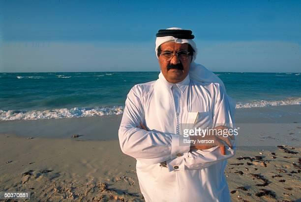 Emir Sheikh Hamad bin Khalifa alThani enjoying leisure time on beach