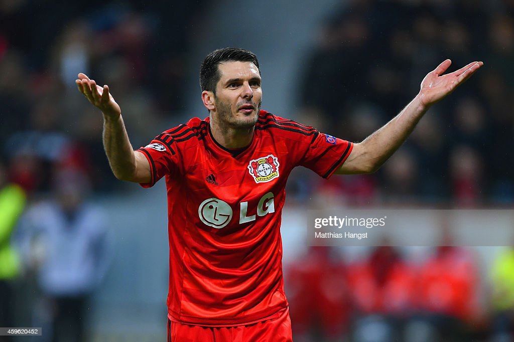 Emir Spahic of Bayer Leverkusen reacts during the UEFA Champions League group C match between Bayer 04 Leverkusen and AS Monaco FC at BayArena on November 26, 2014 in Leverkusen, Germany.