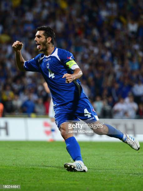 Emir Spahic of Bosnia-Herzegovina celebrates hois goal during the FIFA 2014 World Cup Qualifying Group G match between Slovakia and...