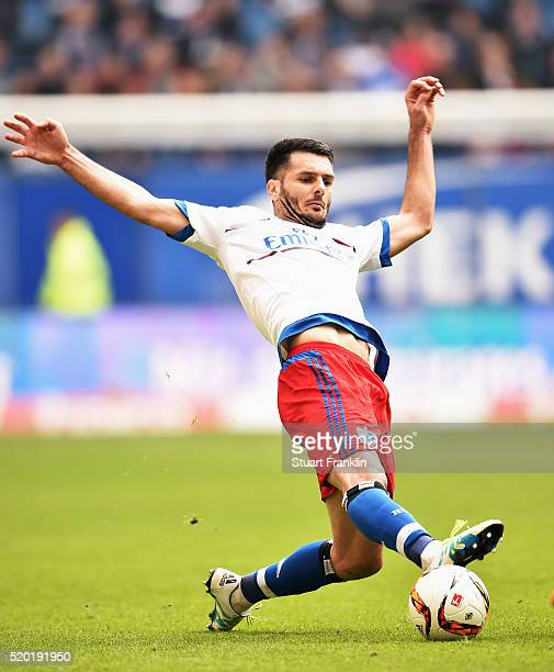 Emir Spahic of Hamburg in action during the Bundesliga match between Hamburger SV and SV Darmstadt 98 at Volksparkstadion on April 9 2016 in Hamburg...