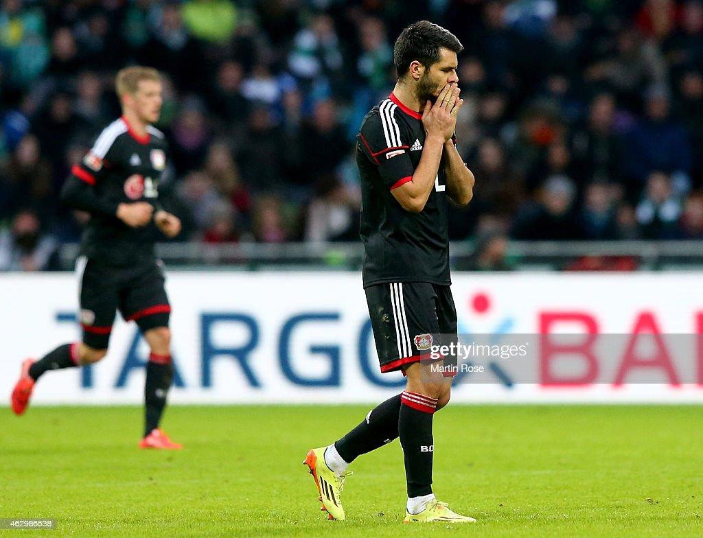 Emir Spahic of Leverkusen reacts during the Bundesliga match between SV Werder Bremen and Bayer 04 Leverkusen at Weserstadion on February 8, 2015 in Bremen, Germany.