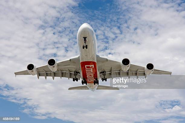 emirates a380 - emirates airline stock photos and pictures