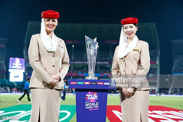 Emirates Air Hostesses pose with the trophy during the ICC World Twenty20 India 2016 Group 2 match between New Zealand and India at the Vidarbha...