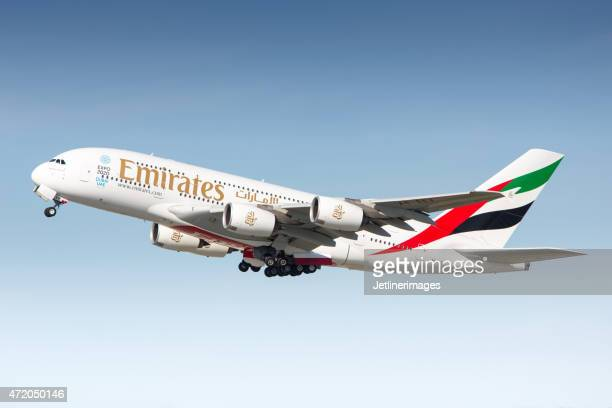 emirates airbus a380 - emirates airline stock photos and pictures
