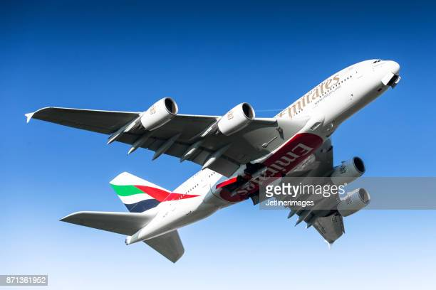 emirates airline airbus a380 - emirates airline stock photos and pictures