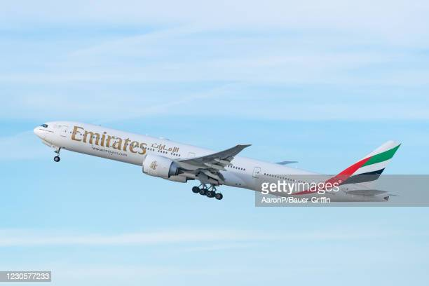 Emirates airline Boeing 777-31H takes off from Los Angeles international Airport on January 13, 2021 in Los Angeles, California.