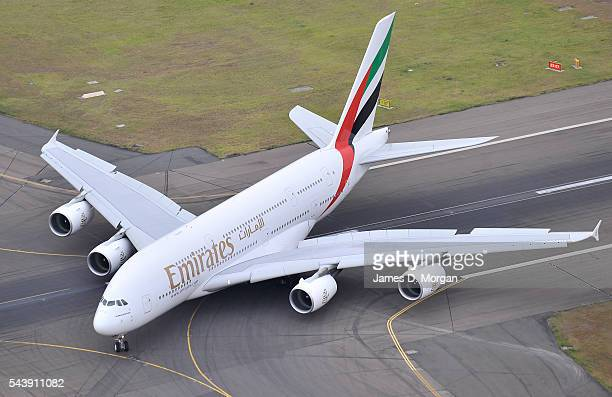 Emirates Airlines first A380 arriving on February 03, 2009 in Sydney, Australia. After its very first flight from Dubai to Sydney and onto Auckland,...