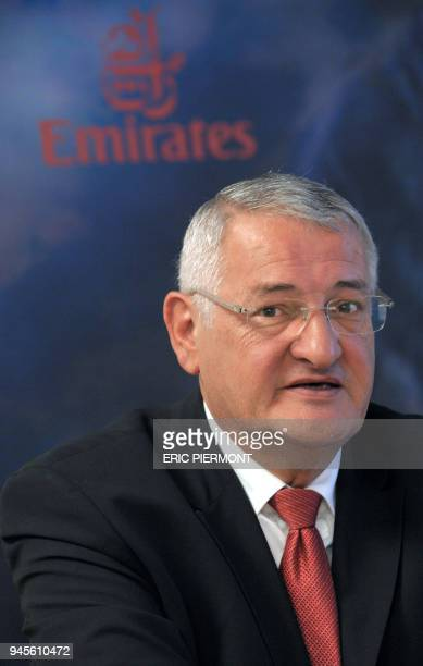 Emirates airlines General Director for France JeanLuc Grillet talks during a press conference at the Emirates offices in Paris on November 3 2010 The...
