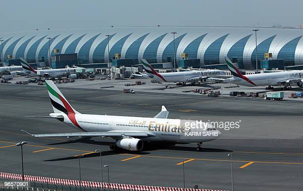 Emirates Airlines planes are parked at the Dubai international airport in the Gulf emirate on April 20 2010 Emirates Airlines said that it has lost...