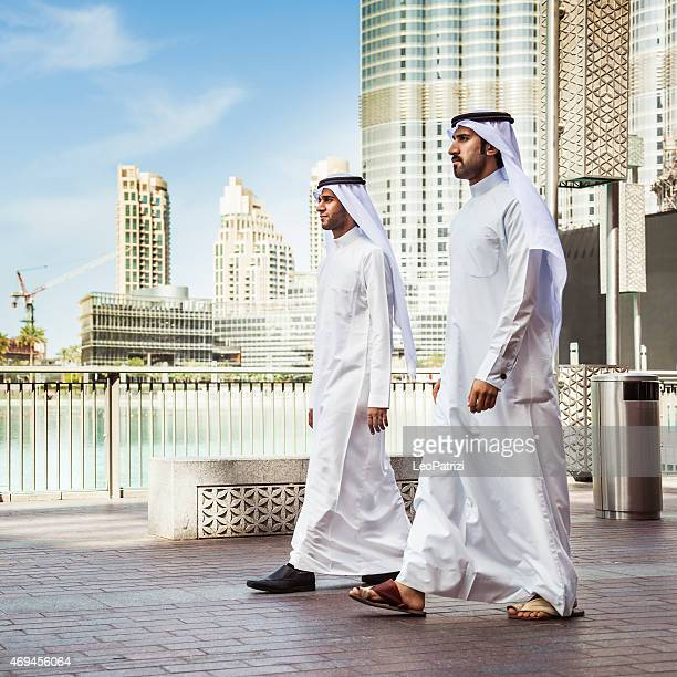 Emirates business men doing business in downtown