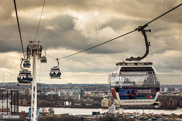 Emirates Cable Cars above River Thames, Greenwich, London, UK