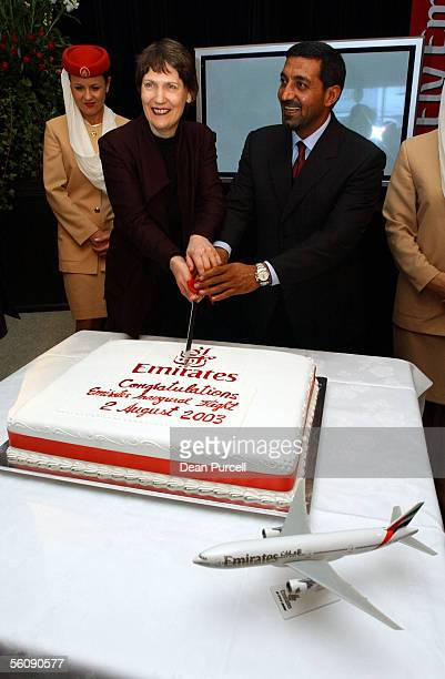 Emirates Chairman HH Sheikh Ahmed bin Saeed AlMaktoum and Prime Minister of NZ Helen Clark cut the cake after the Emirates inaugural flight touches...