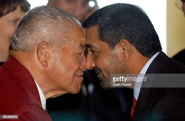 Emirates Chairman HH Sheikh Ahmed bin Saeed AlMaktoum is welcomed to Auckland with a Hongi by Maurice Wilson after the Emirates inaugural flight...