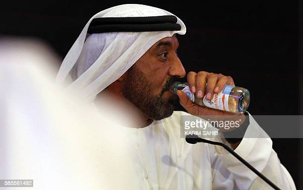 Emirates chief executive officer Sheikh Ahmed bin Saeed alMaktoum gives a press conference near the airpot in Dubai on August 3 2016 An Emirates...