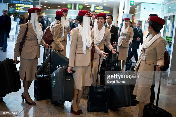 Emirates flight attendants leave the Barcelona El Prat Airport on February 24 2013 in Barcelona Spain Airport Authorities are expecting an increase...