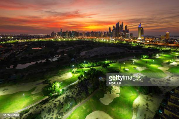 Emirates Golf Course and Marina skyline in background