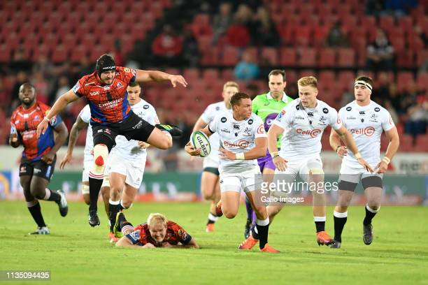 Emirates Lions and Cell C Sharks players during the Super Rugby match between Emirates Lions and Cell C Sharks at Emirates Airline Park on April 05,...