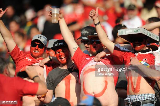 Emirates Lions fans during the Super Rugby Semi Final match between Emirates Lions and Hurricanes at Emirates Airline Park on July 29 2017 in...