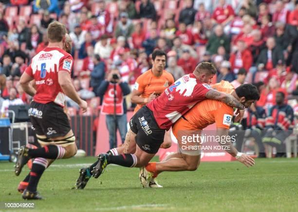 Emirates Lions' Malcolm Marx tackles Jaguares' Nahuel Tetaz Chaparro during the Super Rugby match between the Emirates Lions and the Jaguares at the...
