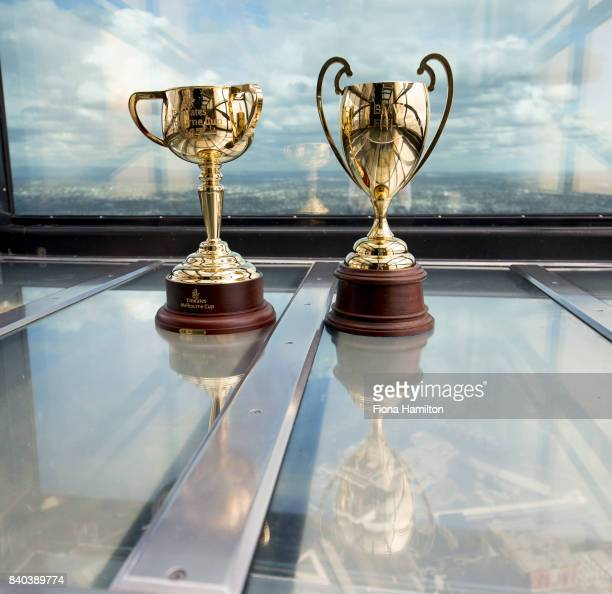 Emirates Melbourne Cup trophy and the 2017 BMW Caulfield Cup trophy at Eureka Tower on August 29 2017 in Melbourne Australia
