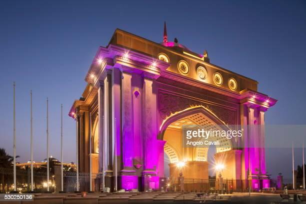 emirates palace hotel entrance, abu dhabi, united arab emirates, middle east - national landmark stock pictures, royalty-free photos & images
