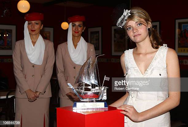 Emirates Stakes Day Fashions on the Field Ambassador Jessica Watson poses for the media at a press conference at Flemington Racecourse on November 5...
