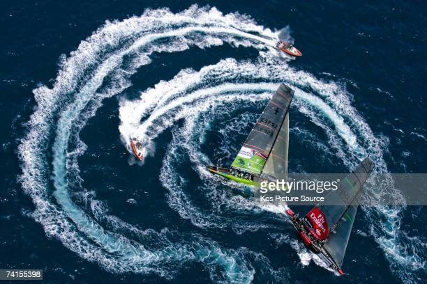 Emirates Team New Zealand and Desafio Espanol race in their first semi final match of the Louis Vuitton Cup on May 14, 2007. The winner of the Louis...